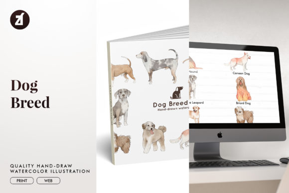 Dog Breed Set11 Graphic Illustrations By Chanut is watercolor