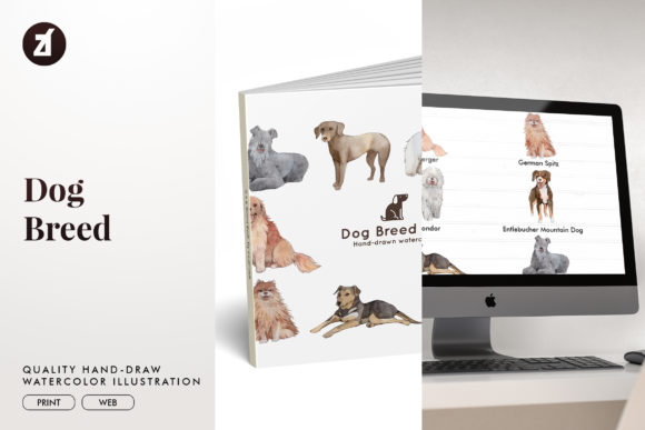 Dog Breed Set13 Graphic Illustrations By Chanut is watercolor