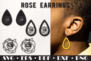 Print on Demand: Earring Template, Rose Earrings Graphic 3D SVG By NatashaPrando