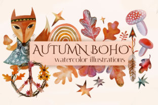 Print on Demand: Fall Watercolor Clipart. Boho Autumn Graphic Illustrations By KsenyaArt