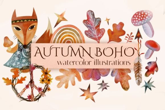 Fall Watercolor Clipart. Boho Autumn Graphic Illustrations By KsenyaArt