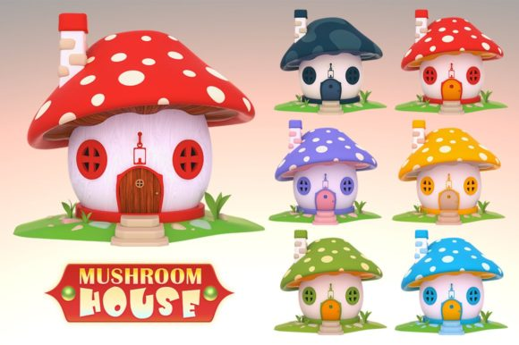 Fantasy Mushroom House Graphic Objects By pixaroma