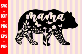 Print on Demand: Floral Mama Bear Mommy Graphic Crafts By creativeshohor