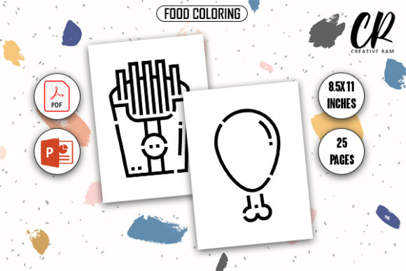 Food Coloring Book (24 Pags) Graphic KDP Interiors By Creative Ram