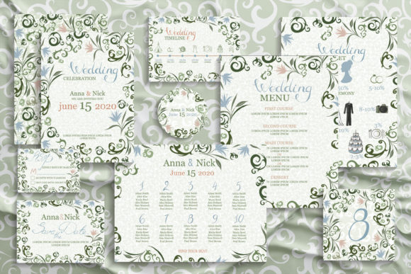 Green Wedding Invitation Cards. Vector Graphic Print Templates By AstraDesign