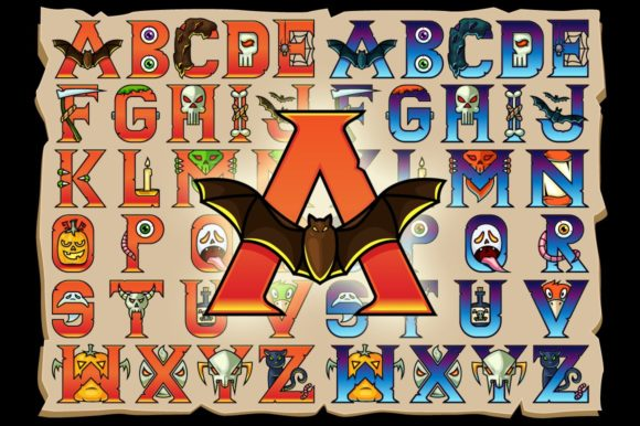Halloween Alphabet Vector Letters Graphic Illustrations By pixaroma