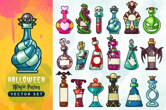 Halloween Magic Potion Bottles Set Graphic Illustrations By pixaroma