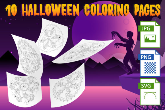 Halloween Mandala Coloring Pages Set 4 Graphic Coloring Pages & Books Kids By Webmark