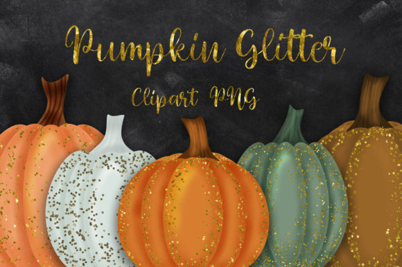 Halloween Pumpkin Glitter Clipart Graphic Illustrations By PinkPearly