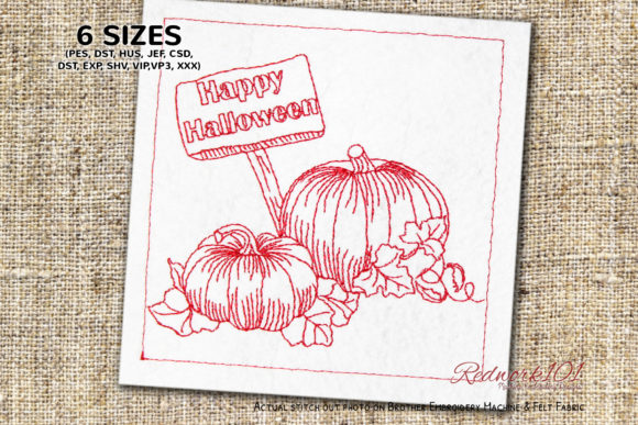 Halloween Pumpkins with Signboard Halloween Embroidery Design By Redwork101