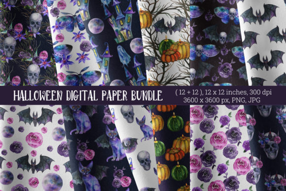 Halloween Seamless Pattern. Skulls Graphic Patterns By KsenyaArt