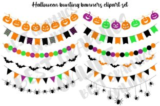 Halloween Bunting Banners Clipart Bats Graphic Illustrations By bestgraphicsonline