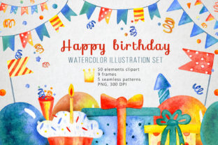 Happy Birthday Watercolor Set Graphic Illustrations By By Anna Sokol