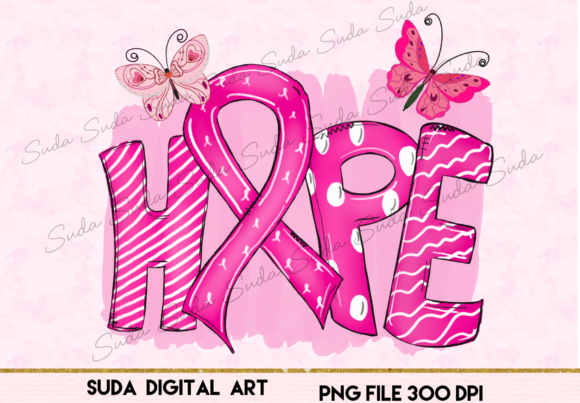Print on Demand: Hope Cancer Ribbon Sublimation Grafik Illustrations von Suda Digital Art