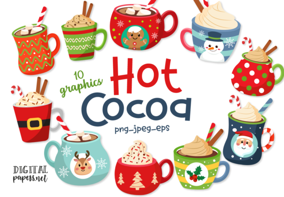 Print on Demand: Hot Cocoa Mugs Grafik Illustrations von DigitalPapers