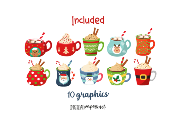 Hot Cocoa Mugs Graphic Download
