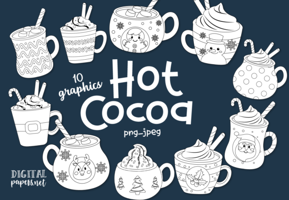 Print on Demand: Hot Cocoa Mugs - Outlines Gráfico Illustrations Por DigitalPapers