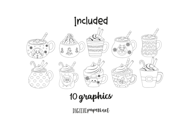 Hot Cocoa Mugs - Outlines Graphic Download