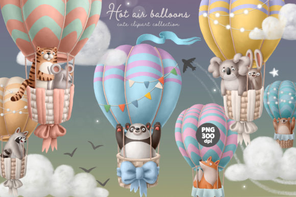Print on Demand: Hot Air Balloon with Animals Graphic Illustrations By Architekt_AT
