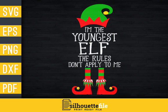 Print on Demand: I'm the Youngest Elf Graphic Print Templates By Silhouettefile