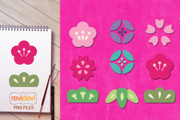 Print on Demand: Japanese Flowers Graphic Icons By Revidevi