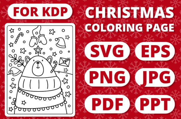 Print on Demand: KDP Christmas Coloring Page for Kids #1 Graphic Coloring Pages & Books Kids By RefreshUp