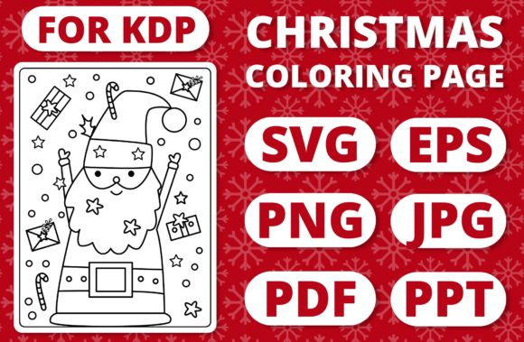 KDP Christmas Coloring Page for Kids #2 Graphic