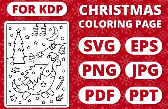 KDP Christmas Coloring Page for Kids #20 Graphic