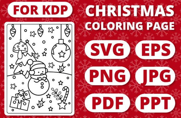 KDP Christmas Coloring Page for Kids #28 Graphic