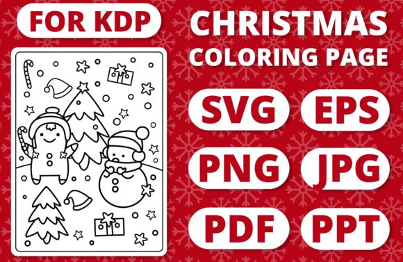 KDP Christmas Coloring Page for Kids #3 Graphic