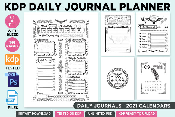 KDP Editable Daily Journal Planner Vol.2 Graphic
