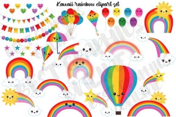 Kawaii Rainbow Clipart Set Cute Weather Graphic Illustrations By bestgraphicsonline