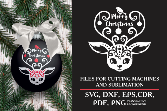 Print on Demand: Merry Christmas. SVG Design with Deer Graphic Crafts By Olga Belova