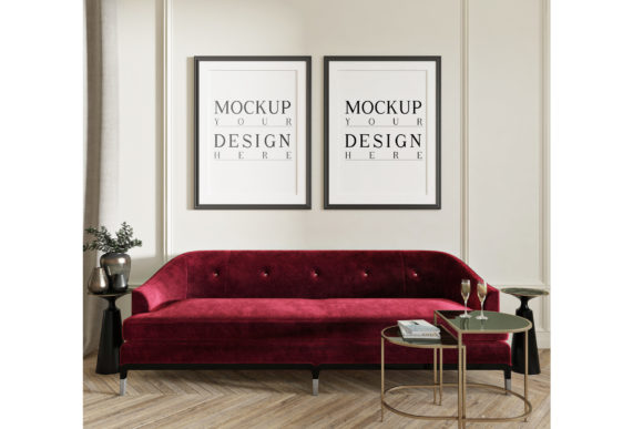 Mockup Poster in Classic Livingroom Graphic Product Mockups By izharartendesign