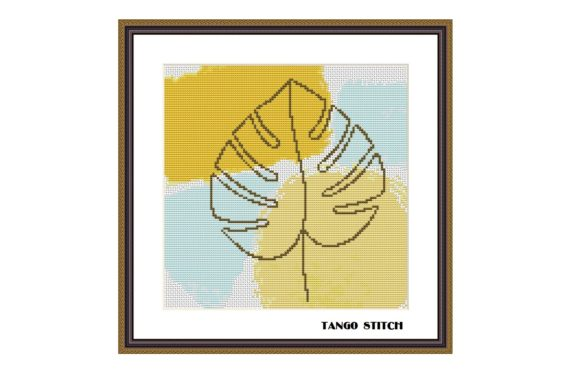 Monstera Leaf Watercolor Cross Stitch Graphic Cross Stitch Patterns By Tango Stitch