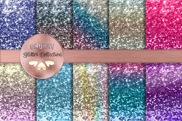 Ombre Gradient Chunky Glitter Collection Graphic Backgrounds By AM Digital Designs
