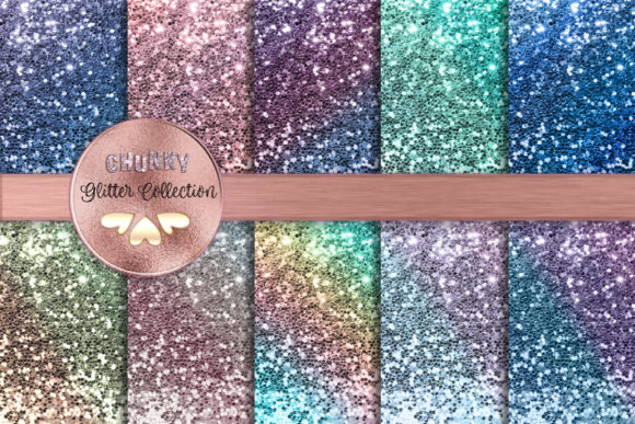 Ombre Pastel Chunky Glitter Collection Graphic Backgrounds By AM Digital Designs