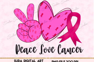 Print on Demand: Peace Love Cancer Design Sublimation Graphic Illustrations By Suda Digital Art