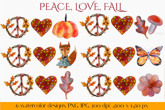 Peace, Love, Fall. Fall Sublimation Graphic Crafts By KsenyaArt