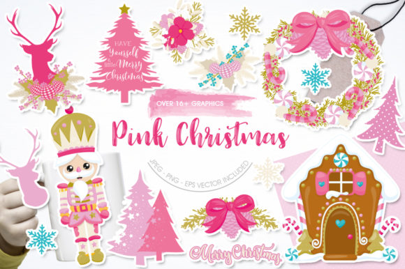 Print on Demand: Pink Christmas Graphic Illustrations By Prettygrafik
