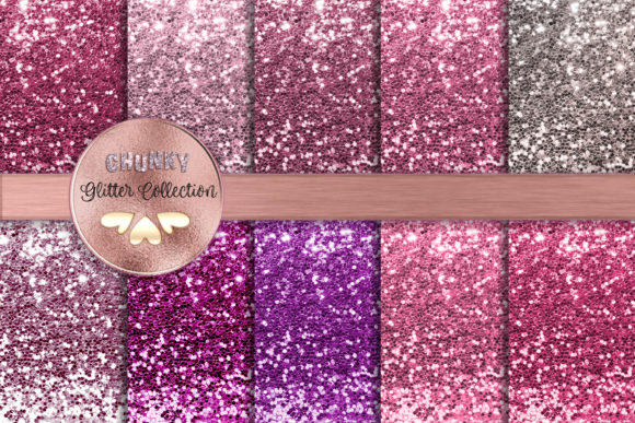 Pinkand Purple Chunky Glitter Collection Graphic Backgrounds By AM Digital Designs