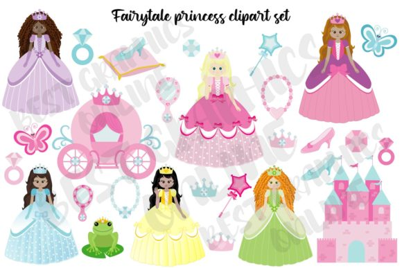 Princess Elements Clip Art Fairytale Art Graphic Illustrations By bestgraphicsonline