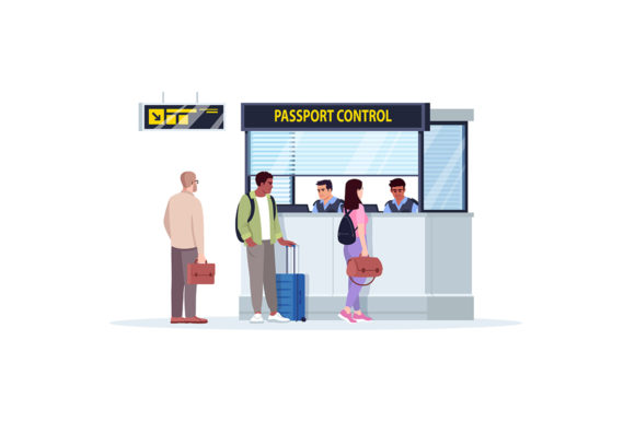 Print on Demand: Queue to Passport Control Illustration Graphic Illustrations By bsd studio