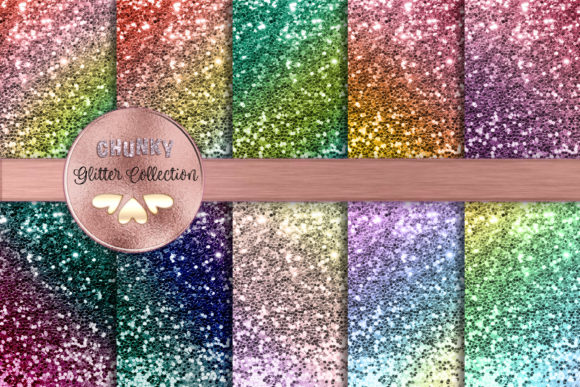 Rainbow Love Chunky Glitter Collection Graphic Backgrounds By AM Digital Designs