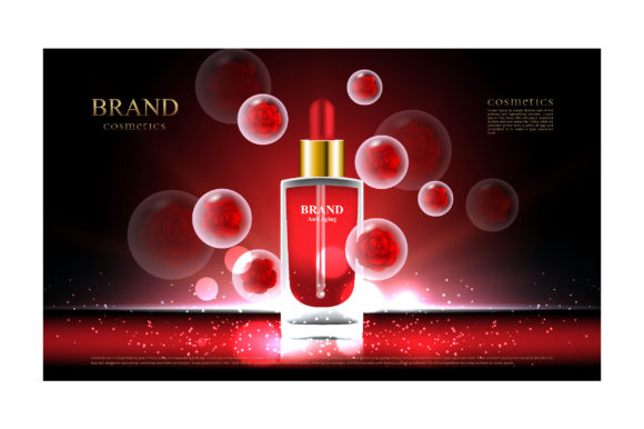 Red Rose Bubble for Cosmetic Product Ads Graphic Illustrations By nhongrand