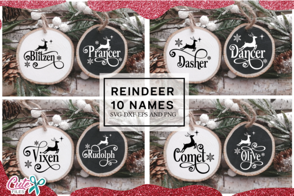 Reindeer Names Ornaments SVG Cut File Gráfico Crafts Por Cute files