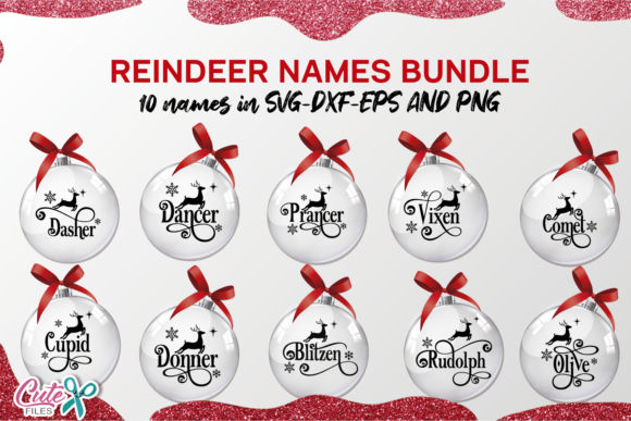 Reindeer Names Ornaments SVG Cut File Graphic Preview