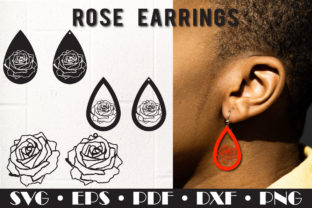 Print on Demand: Rose Earrings, Teardrop Earrings Faux Leather Graphic 3D SVG By NatashaPrando