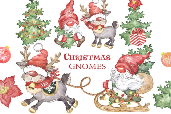 Scandinavian Gnome and Reindeer Clipart Graphic