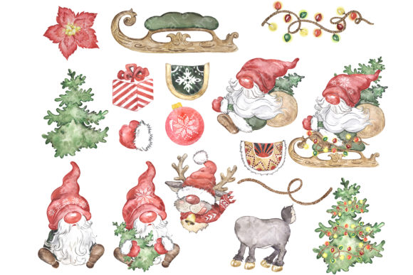 Scandinavian Gnome and Reindeer Clipart Graphic Download